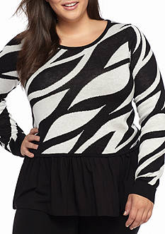 Kaari Blue™ Plus Size Printed Crew Neck Sweater