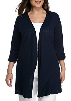 Kaari Blue™ Plus Size Roll-Tab Sleeve Cardigan
