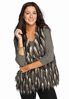 Romeo & Juliet Couture Feathered Faux Fur Vest