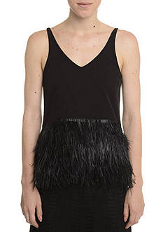 Romeo & Juliet Couture Feather Trim Tank Top