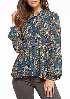 Romeo & Juliet Couture Floral Double Tie Neck Blouse