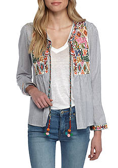 Romeo & Juliet Couture Tie Front Embroidered Jacket