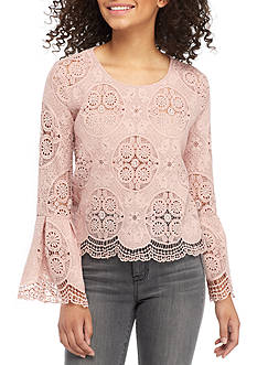 Romeo & Juliet Couture Lace Bell Sleeve Top