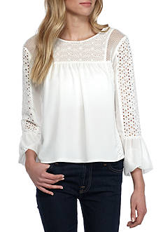 Romeo & Juliet Couture Eyelet Woven Top