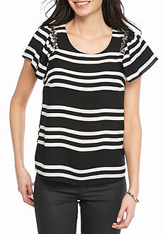 Romeo & Juliet Couture Jewel Neck Stripe Blouse