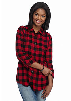 Red Camel Buttoned Plaid Shirt