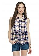 Red Camel® Plaid Shirt with Ruffle Trim