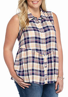 Red Camel® Plus Size Plaid Peplum Top