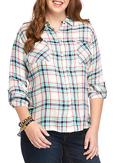 Red Camel® Plus Size Plaid Button Down Shirt