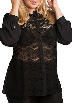 Standards and Practices Plus Size Coco Lace Collared Shirt