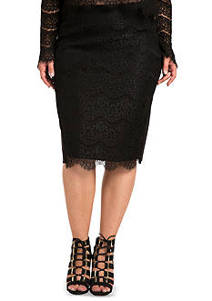 Standards and Practices Plus Size Tori Black Lace and Ponte Pencil Skirt