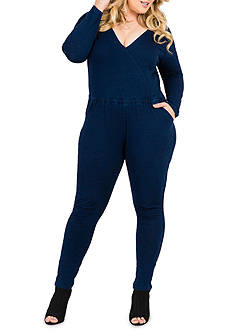 Standards and Practices Plus Size Lucy Knit Wrap Front Jumpsuit