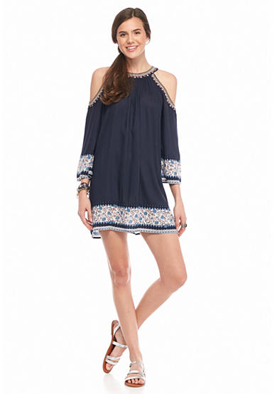 En Crème Border Print Cold Shoulder Dress