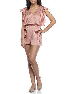 En Crème Short Sleeve Silky Ruffle V-Neck Romper