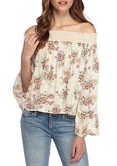 En Crème Off the Shoulder Smocked Floral Blouse