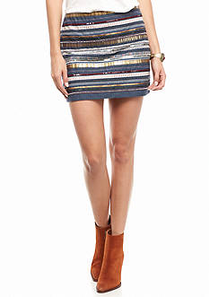 En Crème Embellished Striped Skirt