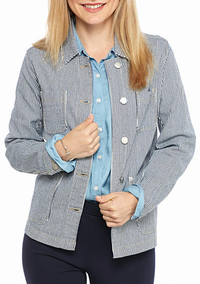 Crown & Ivy™ Petite Size Railroad Stripe Jacket