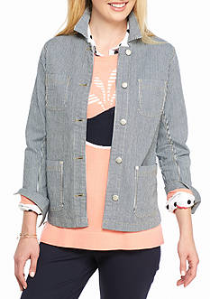 crown & ivy™ Stripe Denim Jacket