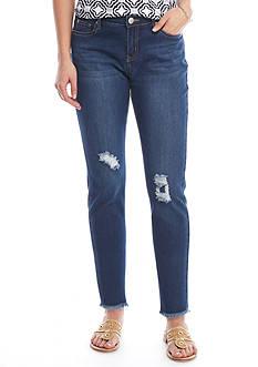 Crown & Ivy™ Destructed Skinny Frey Hem Jeans
