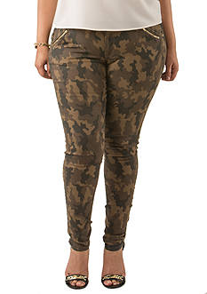 Poetic Justice® Scarlett Mid Rise Camo Skinny Jeans