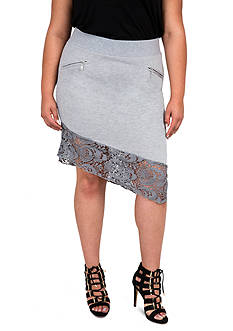 Poetic Justice Plus Size Asymmetrical Terry Skirt with Lace Trim
