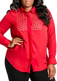 Poetic Justice Plus Size Tuxedo Button Front Studded Blouse