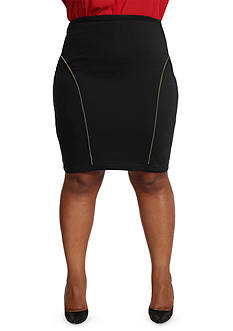 Poetic Justice Plus Size Ponte Zip Trim Pencil Skirt