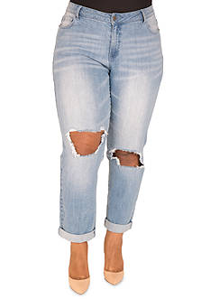 Poetic Justice Plus Size Curvy Fit True Boyfriend Jeans