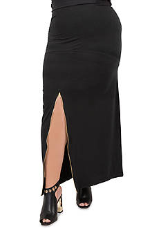 Poetic Justice Plus Size Maxi Slit Front French Terry Skirt