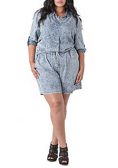 Poetic Justice Mariah Button Front Tencel Chambray Roll Sleeve Romper