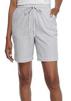 Kim Rogers® 1 Button Hem Sheeting Stripe Shorts