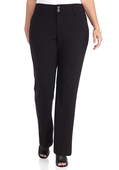 New Directions® Plus Size Button Zip Front Pants