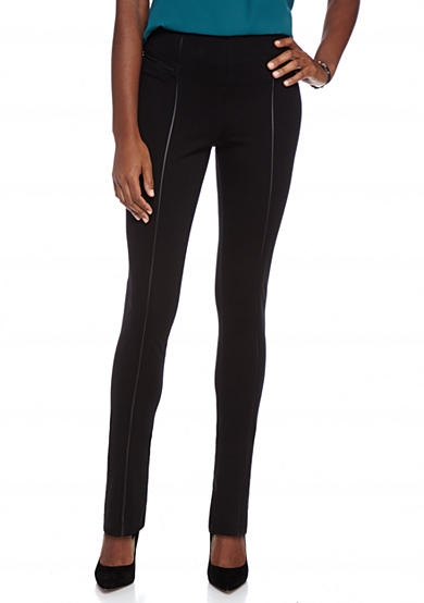 New Directions® Faux Leather Trim Ponte Pants