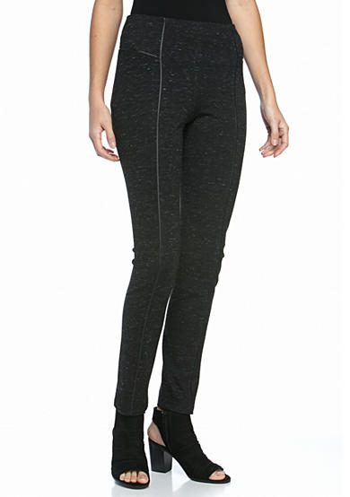 New Directions® Knit Leggings With Faux Leather Piping