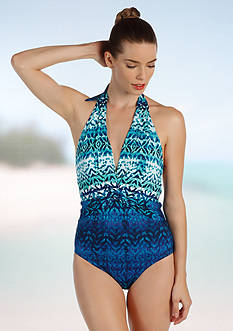 Karen Kane Printed Waterfall Glam One Piece