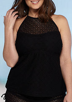 Aqua Couture Plus Size Dreamscape Crochet Hi-Neck Tankini