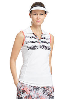 IZOD Women's Sleeveless Pieced Print Polo Shirt