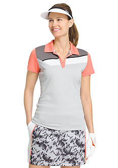 IZOD Women's Knit Angle Colorblock Polo Shirt