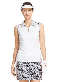 IZOD Women's Sleeveless Printed Yoke Polo Shirt
