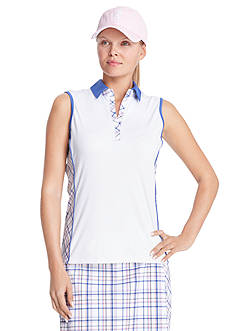 IZOD Women's Sleeveless Plaid Trim Polo Shirt