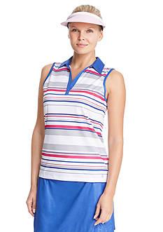IZOD Women's Sleeveless Striped Polo Shirt