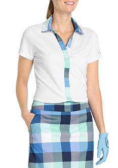 IZOD Plaid Pieced Polo