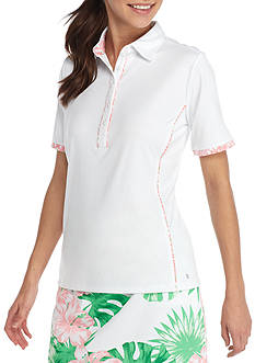 IZOD Women's Short Sleeve Piped Polo Shirt