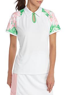 IZOD Women's Short Sleeve Keyhole Polo
