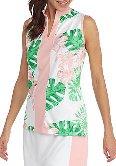 IZOD Women's Printed Split Top