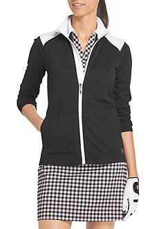 IZOD Long Sleeve Half Zip Color Block Shoulder Jacket
