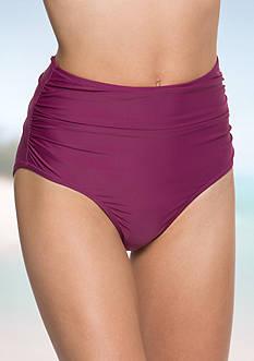 Betsey Johnson Solid High-Waist Swim Bottom