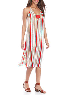 PAPER CRANE Racerback Stripe Midi Swing Dress