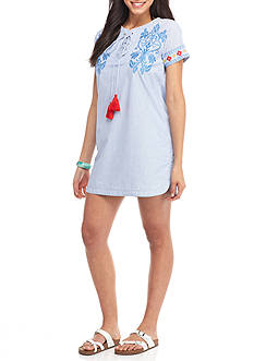 PAPER CRANE Embroidered Striped Dress