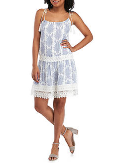 PAPER CRANE Tie Halter Lace Hem Print Dress